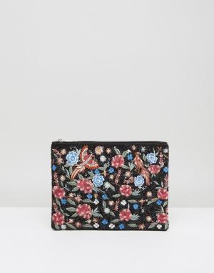 Boohoo Клатч с вышивкой в виде цветов и птиц. Цвет: черный