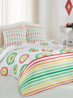 Комплект постельного белья Радуга Тет-а-Тет. Цвет: белый, зеленый, красный, желтый