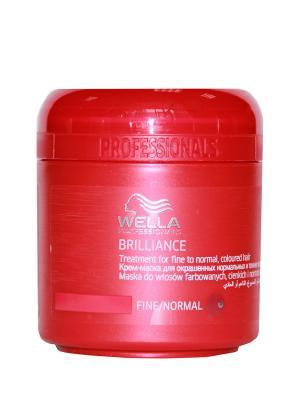 Wella Brilliance Line Крем-маска для окрашенных нормальных и тонких волос 150 мл Professional. Цвет: белый