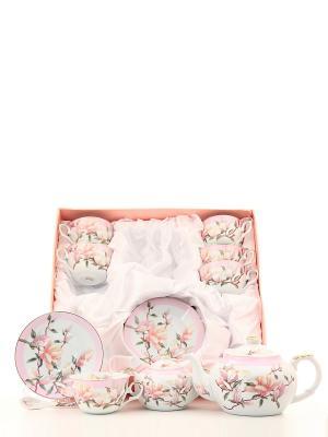 Чайный набор Душистый цветок Elan Gallery. Цвет: бледно-розовый, белый