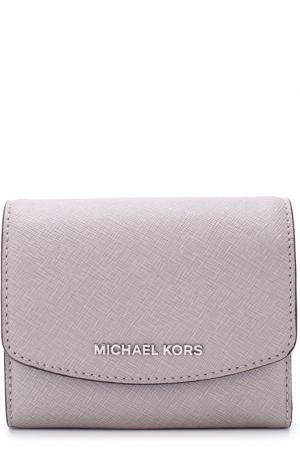 Кожаный кошелек с клапаном и логотипом бренда MICHAEL Kors. Цвет: серый