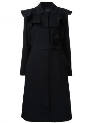 Пальто с поясом и оборками Goen.J. Цвет: чёрный