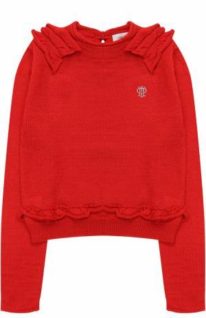 Пуловер джерси с оборками и логотипом бренда из страз I Pinco Pallino. Цвет: красный