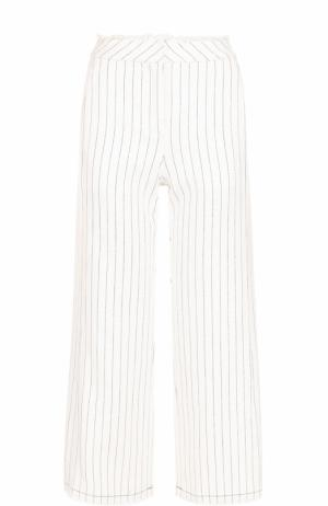 Укороченные расклешенные брюки в полоску T by Alexander Wang. Цвет: белый