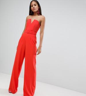ASOS Tall Комбинезон с широкими штанинами и формованным лифом DESIGN. Цвет: оранжевый