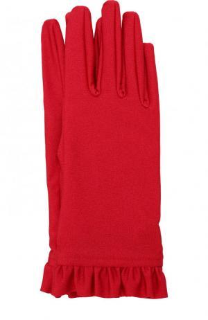 Перчатки с оборками Balenciaga. Цвет: красный