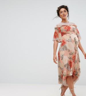 Hope and Ivy Maternity Платье миди с принтом и кружевной отделкой &. Цвет: мульти