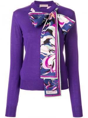Свитер с шарфом Emilio Pucci. Цвет: розовый и фиолетовый