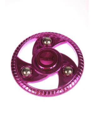 Спиннер металлик улучшенный круглый с шариками-утяжелителями, розовый Радужки. Цвет: розовый