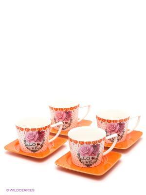 Чайный набор, 8предметов LORAINE. Цвет: оранжевый