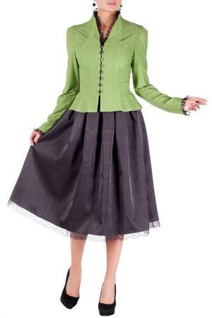 Комплект с юбкой Mannon. Цвет: серо-салатовый