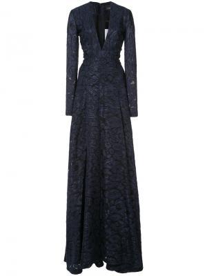 А-образное платье с леопардовым принтом J. Mendel. Цвет: синий