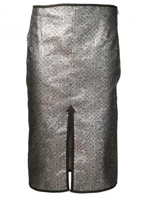 Парчовая юбка с разрезом спереди Nomia. Цвет: металлический