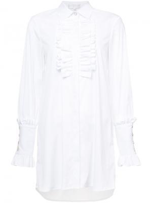 Рубашка с ребристым нагрудником Caroline Constas. Цвет: белый