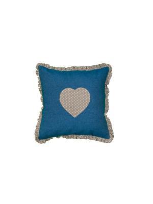 Наволочка джинсовая декоративная Сердечко (45 см * 45 см) Семейные ценности. Цвет: темно-синий, серо-коричневый