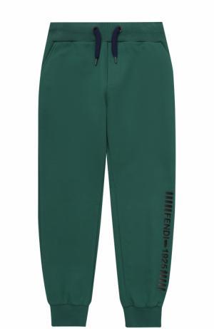 Спортивные брюки с эластичными манжетами и аппликацией Fendi Roma. Цвет: зеленый