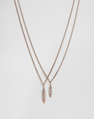 MISTER Золотисто-розовое ожерелье с перьями. Цвет: золотой