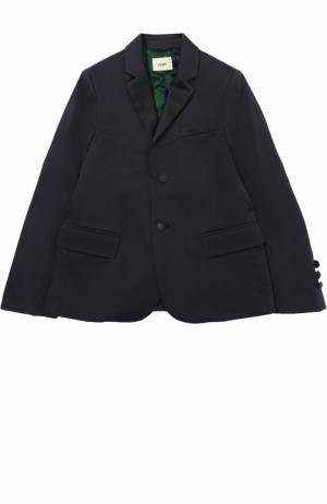 Однобортный пиджак из хлопка Fendi Roma. Цвет: синий