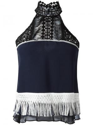Блузка с бахромой Jonathan Simkhai. Цвет: синий