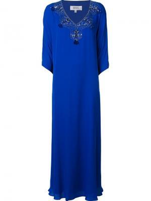 Long embellished dress Badgley Mischka. Цвет: синий