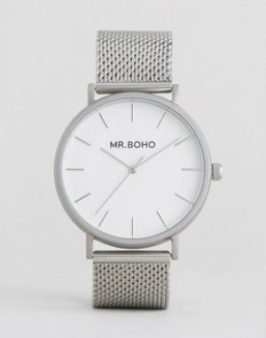 Mr Boho Серебристые часы с сетчатым браслетом. Цвет: серебряный