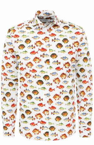 Хлопковая рубашка с принтом Eton. Цвет: разноцветный