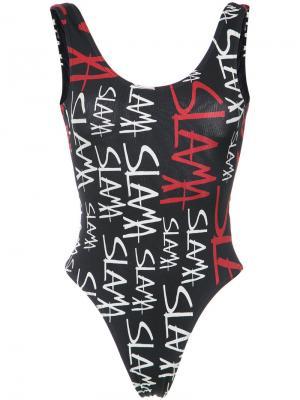 Logo print swimsuit Amir Slama. Цвет: чёрный