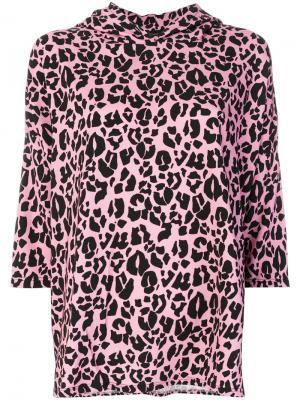 Топ-толстовка с леопардовым принтом Barbara Bologna. Цвет: розовый и фиолетовый