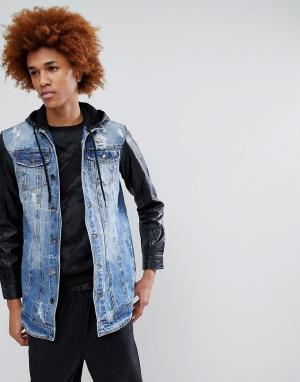 Criminal Damage Джинсовая куртка с полиуретановыми рукавами. Цвет: синий