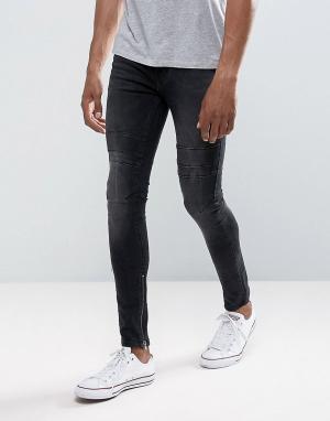 New Look Черные выбеленные джинсы скинни с рваной отделкой. Цвет: черный