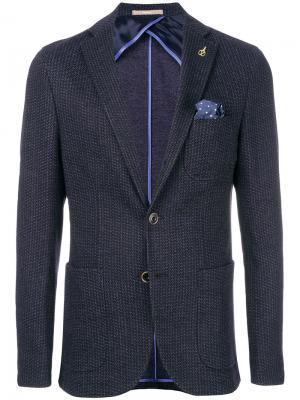 Фактурный пиджак Paoloni. Цвет: синий