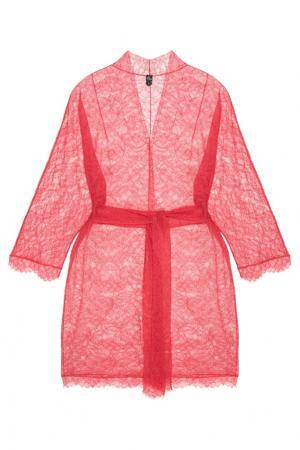 Кружевной халат с поясом NuCode. Цвет: розовый