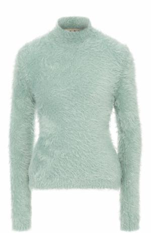 Приталенный свитер с высоким воротником Marni. Цвет: голубой