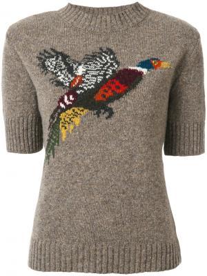 Трикотажный топ с изображением птицы Mulberry. Цвет: коричневый