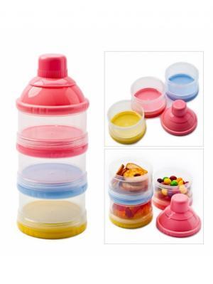 Трехслойный контейнер для пищевых сыпучих продуктов BRADEX. Цвет: голубой, желтый, розовый