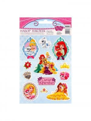Наклейки декоративные объемные Самая красивая!, Принцессы Disney. Цвет: светло-голубой,лиловый,светло-оранжевый,молочный,красный,фуксия,коралловый,горчичный,золотистый,персиковый,белый