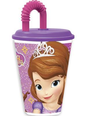Стакан пластиковый с соломинкой и крышкой (спортивный, 430 мл). Принцесса София фиолет. Stor. Цвет: фиолетовый
