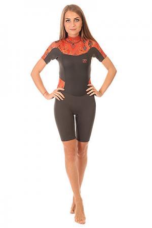 Гидрокостюм (Комбинезон) женский  Syner 2x2 Bz Ss Sprg Guatemala Billabong. Цвет: коричневый,черный