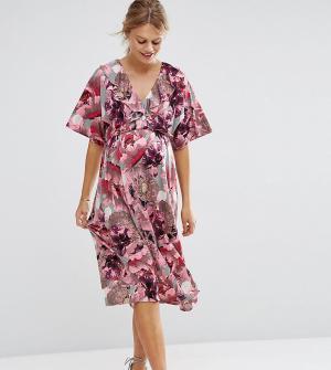 ASOS Maternity Свободное платье миди для беременных. Цвет: мульти