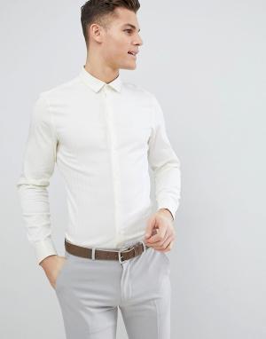 ASOS Светло-желтая узкая рубашка с узором в елочку и двойными манжетами ASO. Цвет: желтый