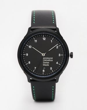 Mondaine Часы с кожаным ремешком Helvetica NY. Цвет: черный