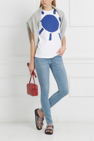 Хлопковая футболка Etre Cecile. Цвет: синий, белый