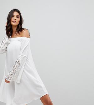 Akasa Пляжное платье с отделкой кроше и рукавами клеш. Цвет: кремовый