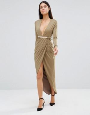 Rare Платье миди с длинными рукавами и декольте. Цвет: зеленый