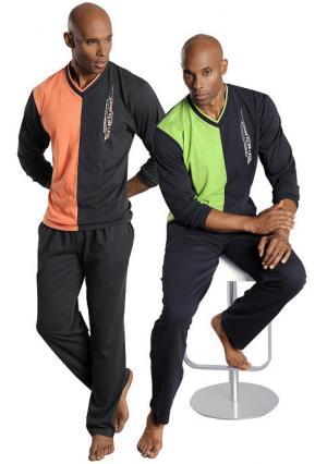 Пижама, 2 штуки LE JOGGER. Цвет: зеленый+оранжевый