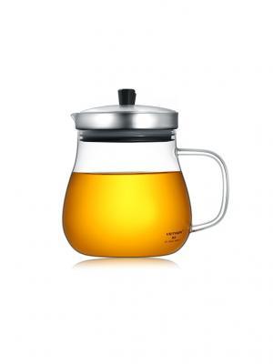 Стеклянный заварочный чайник KF-B060, 600 мл Veitron. Цвет: черный, прозрачный