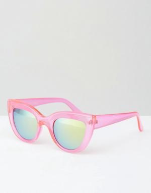 Jeepers Peepers Розовые солнцезащитные очки кошачий глаз. Цвет: розовый