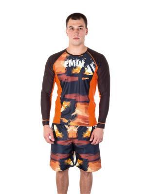 Шорты EMDI. Цвет: черный, оранжевый