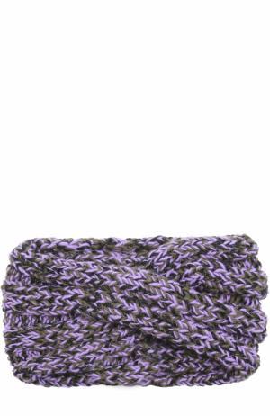 Шерстяная повязка фактурной вязки с отделкой металлизированной нитью 0711. Цвет: сиреневый