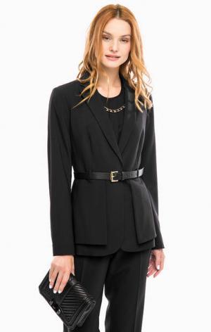 Черный пиджак из шерсти с ремнем MICHAEL Kors. Цвет: черный